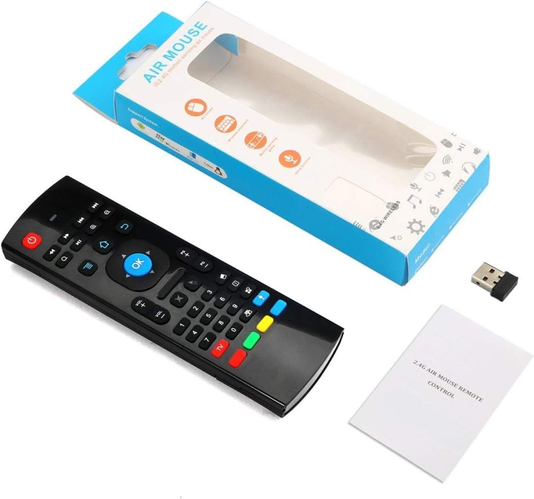 JohnJohnsen 2.4G Mini inalámbrico 81 Teclas Teclado de Voz Ratón Aprendizaje Remoto por Infrarrojos y Control Remoto de Aire 3-Gyro + 3-Gsensor para Android (Negro): Amazon.es: Electrónica