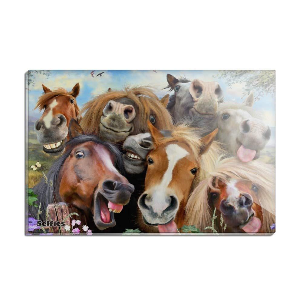Horses Selfie Rectangle Acrylic Fridge Refrigerator Magnet
