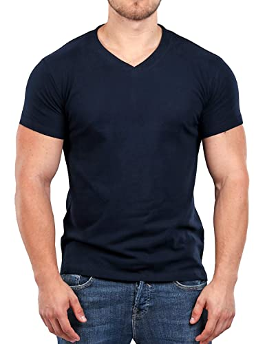 fe5b83bcb5fd10 Muscle Fit Basics Men's Heavyweight V Neck Fitted Plain T-Shirt - 5 Colours  - S M L XL XXL: Amazon.co.uk: Clothing