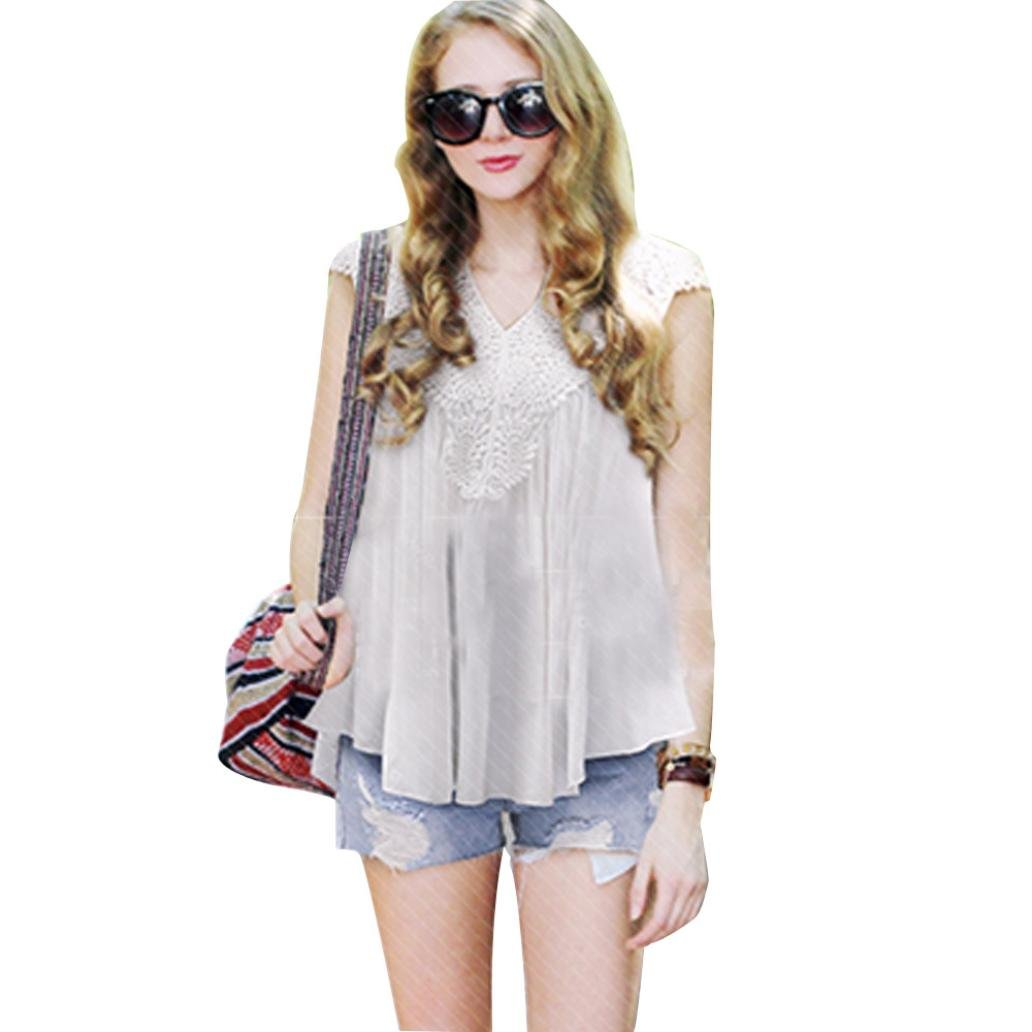 03dadfce68a TONSEE Women Plus Size Lace Splice Chiffon Vest Top Sleeveless Blouse Tank  Tops