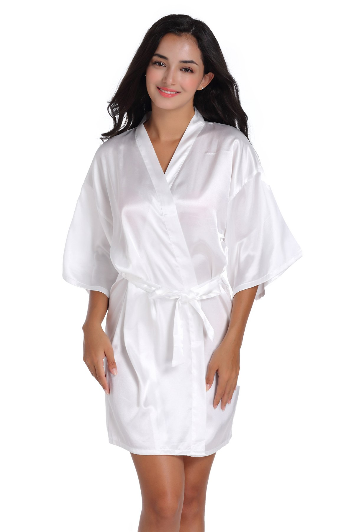 SIMJOY Women\'s Satin Short Kimono Robe Plain Dressing Gown Bathrobe ...