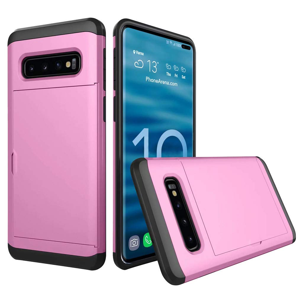 Cyhulu Samsung Galaxy Phone S10 Plus Case, Hot New Brushed Hard PC+Silicone Case Cover Card Holder for Samsung Galaxy S10 Plus 6.4 inch, 11 Color Available (Purple, One size)