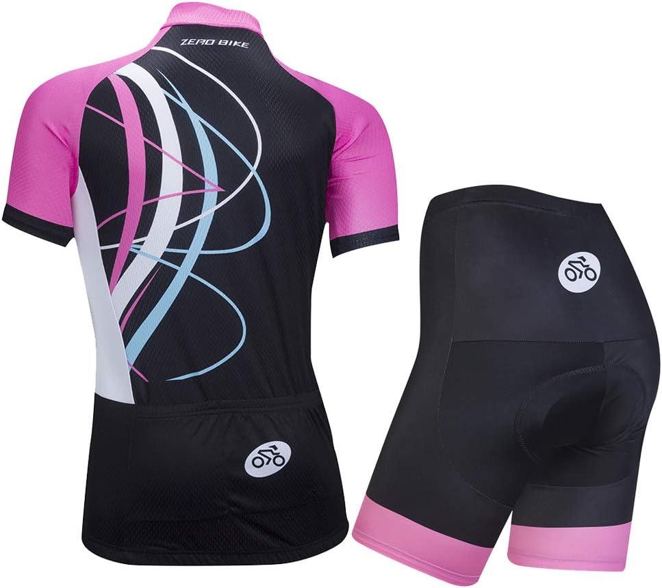 3D Coussin Rembourr/é Serr/é Shorts Pantalon Jersey Cycle Manches Courtes Veste Femmes V/élo Cyclisme Respirant /à s/échage Rapide Maillots Set