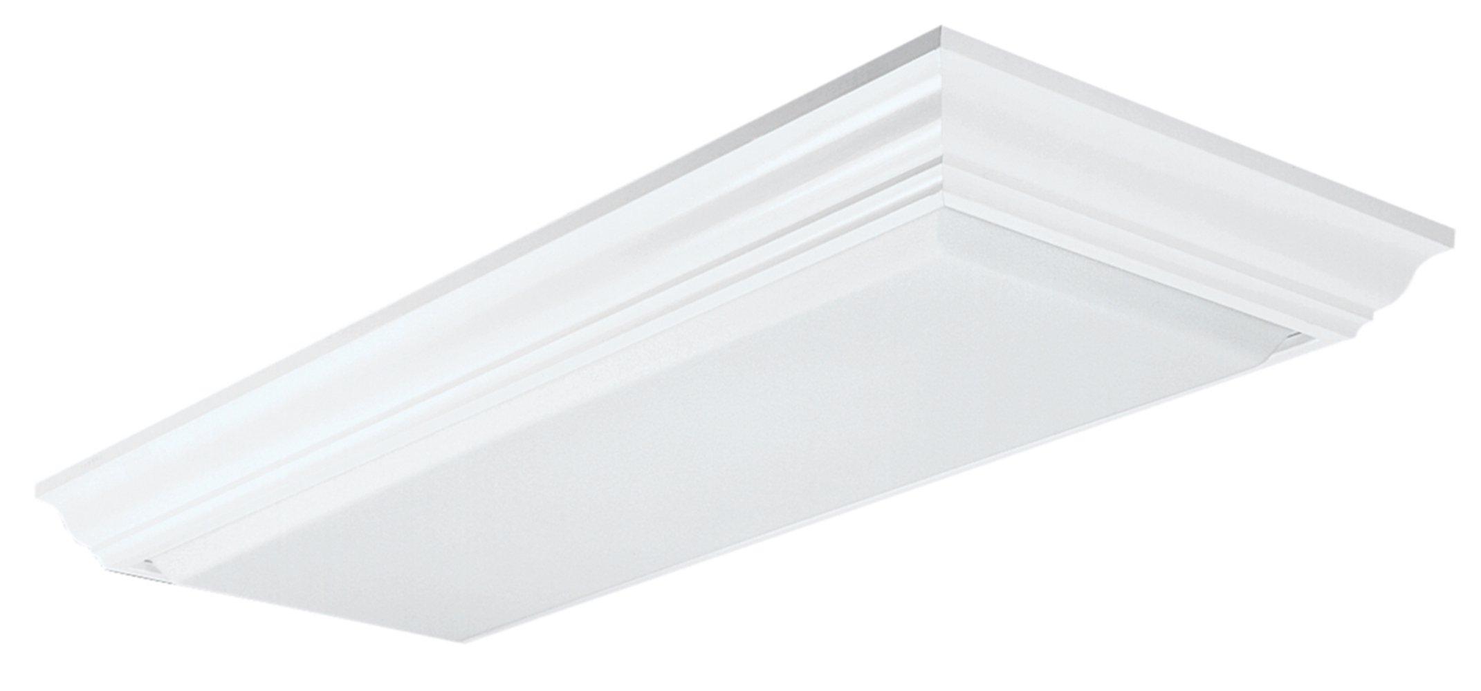 Lithonia Lighting 11432RE WH Cambridge Linear T8 Flush Mount Ceiling Light for Kitchen | Attic | Basement | Home, White