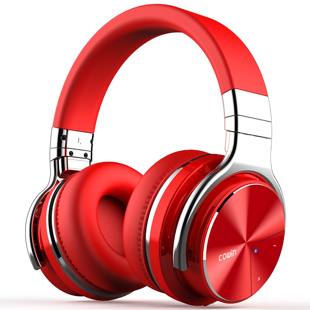COWIN E7 PRO [2018 Upgraded] Active Noise Cancelling Headphone Bluetooth Headphones with Microphone Hi-Fi Deep Bass Wireless Headphones Over Ear 30H Playtime for Travel Work TV Computer Phone - Red COWIN E7 pro ANC Bluetooth Headphones