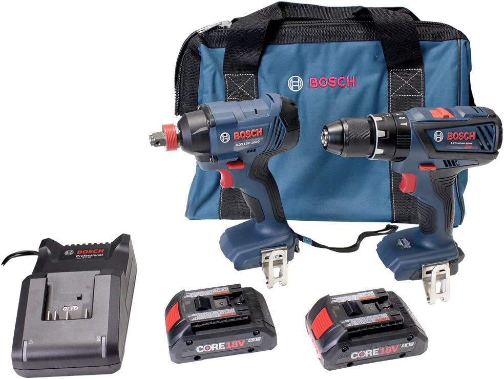 Bosch CORE18V 2-Tool Power Tool Combo Kit with Soft Case (2-Batteries Included and Charger Included)