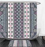 Nalahome Bath Suit: Showercurtain Bathrug Bathtowel Handtowel Tribal Decor Tribal Mexican Vintage Ethnic Pattern Handmade Design Illustration Print Pink and Grey