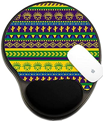 Luxlady Mousepad wrist protected Mouse Pads/Mat with wrist support design IMAGE ID: 38757325 vector seamless aztec pattern with cactus and funny warrior face images