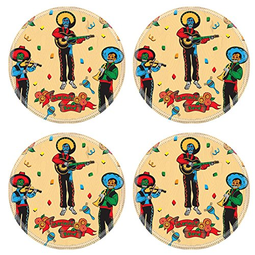 [MSD Natural Rubber Round Coasters IMAGE ID: 6609204 Colorful Day of the Dead Mariachi Band with banner and flowers on a faded wood] (Dia De Los Muertos Mariachi Costume)