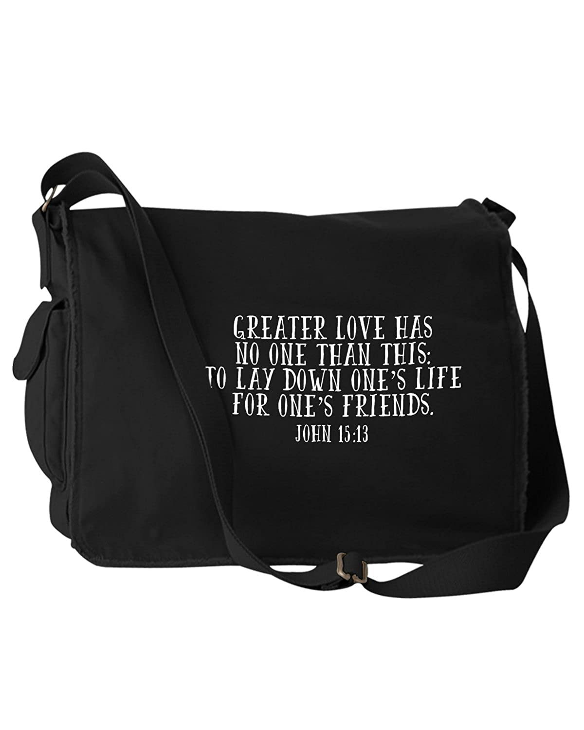 Greater Love Has No One Than This John 15:13 Bible Quote Phrase Black Canvas Messenger Bag