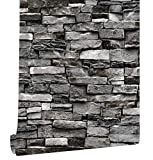 HaokHome 221305 Faux Stone Stacked Brick Wallpaper Dark Grey for Home Accent Wall 20.8''x 31ft