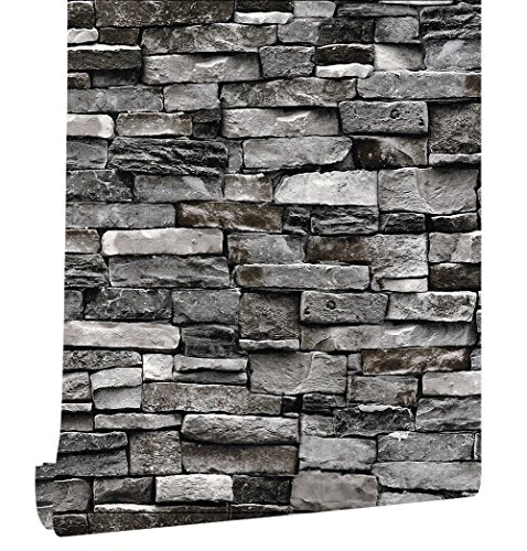 HaokHome 221305 Faux Stone Stacked Brick Wallpaper Dark Grey for Home Accent Wall 20.8