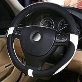 ハンドルカバー 軽自動車&普通車兼用ハンドルカバ- 触感よく、汚れ防止、滑り防止ハンドルカバー   直径38cm 適応サイズ:37-38㎝ 白+黒 …