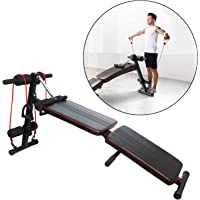 FITSY® Foldable Decline Sit Up AB Fitness Adjustable Utility Workout Exercise Bench with Resistance Band for Home Gym