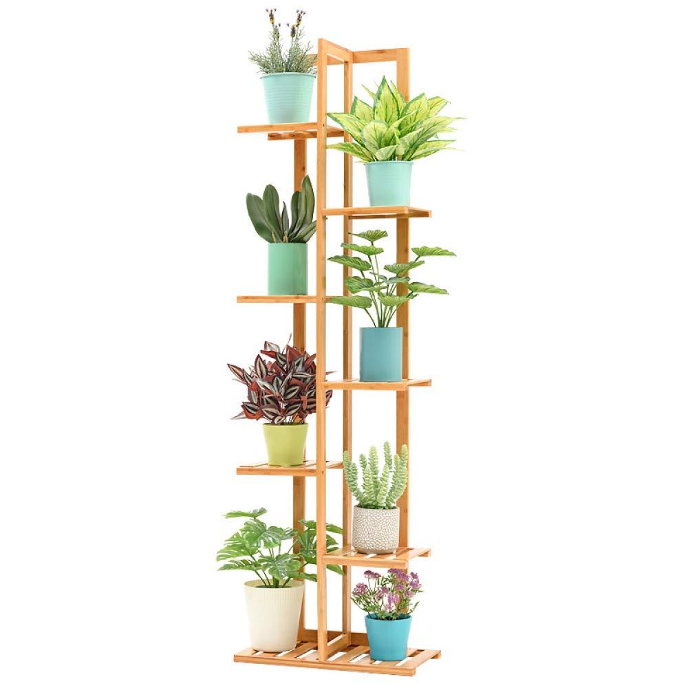 nouler Flower Pot Rack Multi-Layer Indoor Balcony Solid Wood Living Room Floor Racks Fashion,Wood Color,Seven Floors