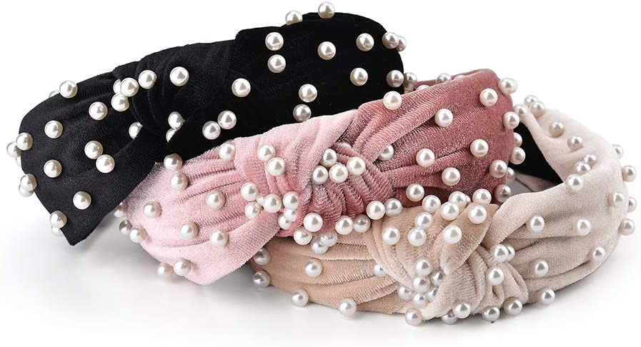 Furling Pompoms Polka Dot Headband for Women Bow Tie Knotted Hair Bands Headwrap Bunny Ear Hair Hoops Hair Accessories Pack of 3pcs