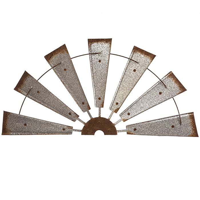 "Glitzhome 32"" Half Windmill Wall Decor Farmhouse Galvanized Metal Rustic Wall Hanging Sculpture"