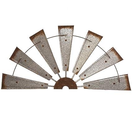 Glitzhome 32 Half Windmill Wall Decor Farmhouse Galvanized Metal Rustic Wall Hanging Sculpture
