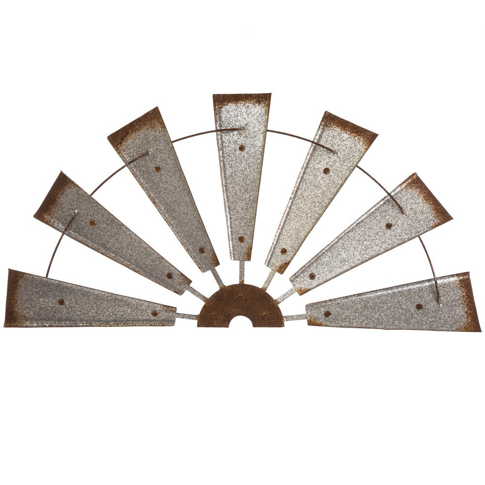 Glitzhome Metal Semi-Circle Windmill Wall Decor