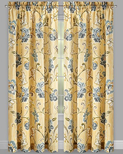 Traditions by Waverly Refresh Pumice Yellow 2-Panel Drapery Pair Set Window Curtains, 104