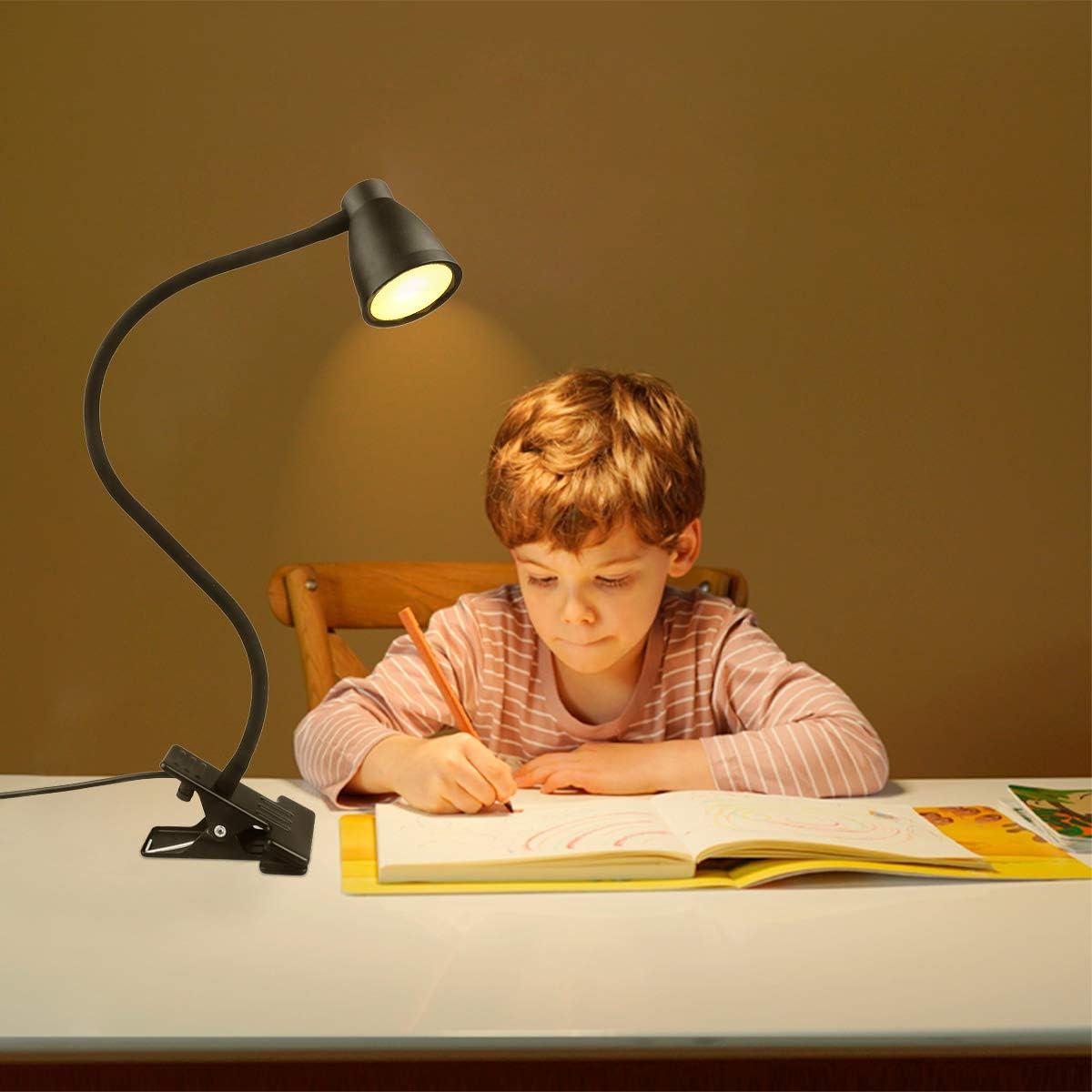 Lampe Clip LED Lampe Pour Enfants Eye-Care avec 3 Couleurs R/églables et une Luminosit/é Variable de 10 Pour la Lecture Lampes de Chevet et Lampes de Table Lampe de Bureau /à Pince