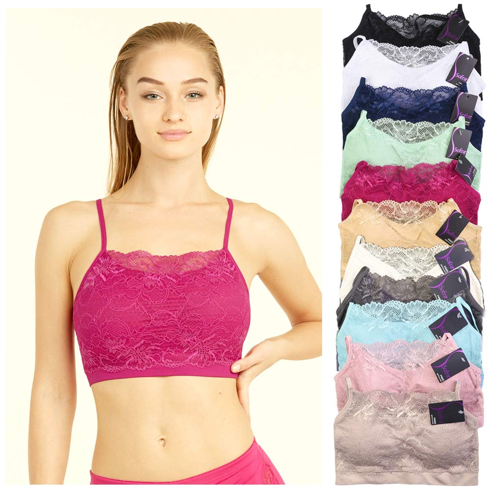 582d001b50 Amazon.com  6 X Womens Seamless Lace Top Sports Bra Cleavage Cover Padded  Stretch One Size  Office Products