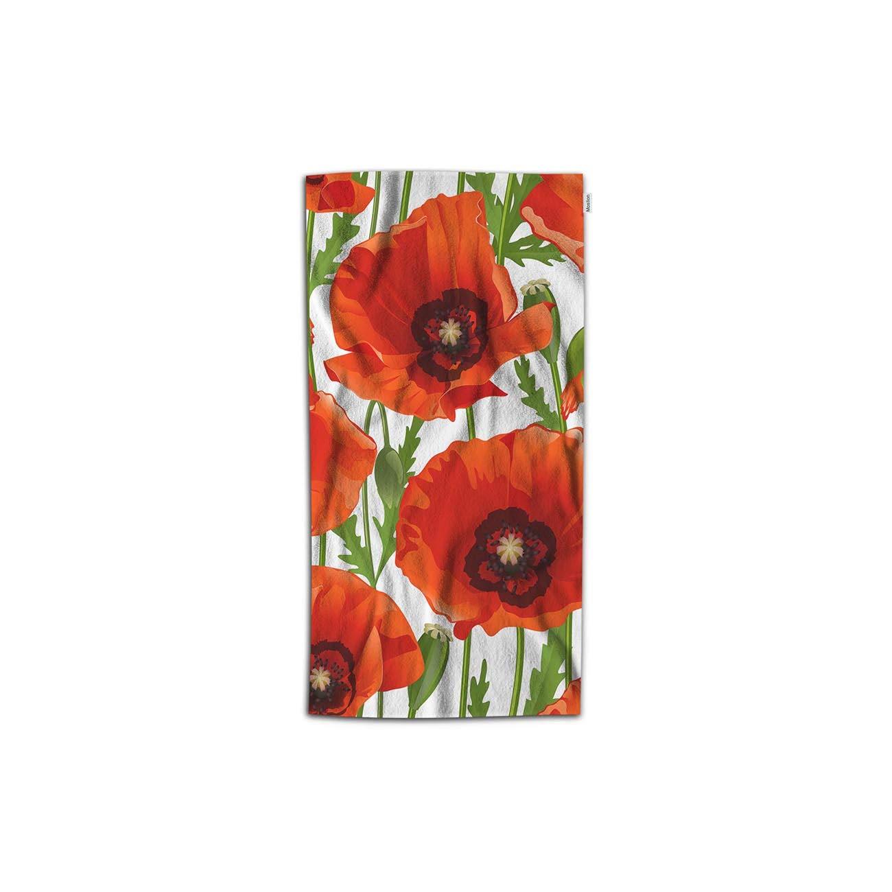 Moslion Floral Hand Towel Nature Botanical Plant Poppy Flower Bud Leaf Towel Soft Microfiber Face Hand Towel Kitchen Bathroom for Kids Baby Men 15x30 Inch Red Green White