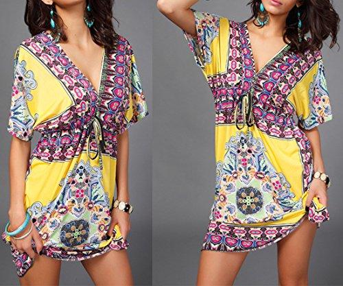 QIYUN.Z Las Mujeres V-Cuello De Manga Corta De Playa Informal Verano Bohemio Vestido Cubrir Sundress Amarillo