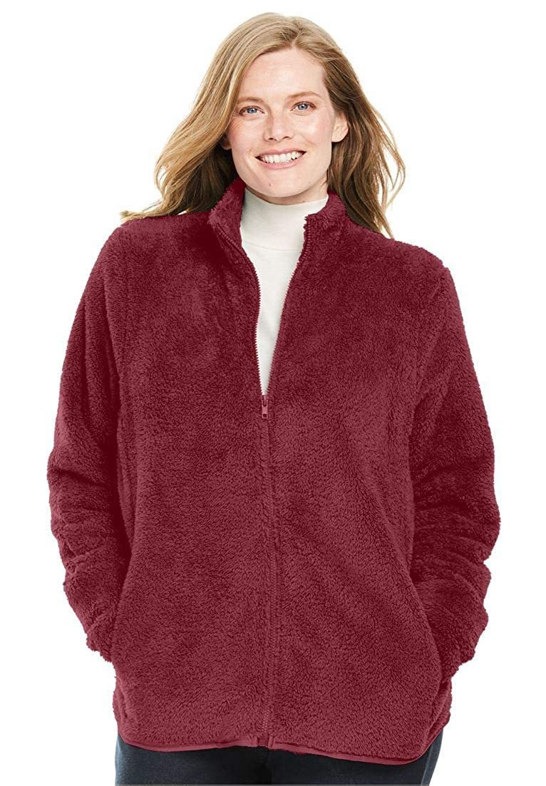 Woman Within Plus Size Fluffy Fleece Jacket