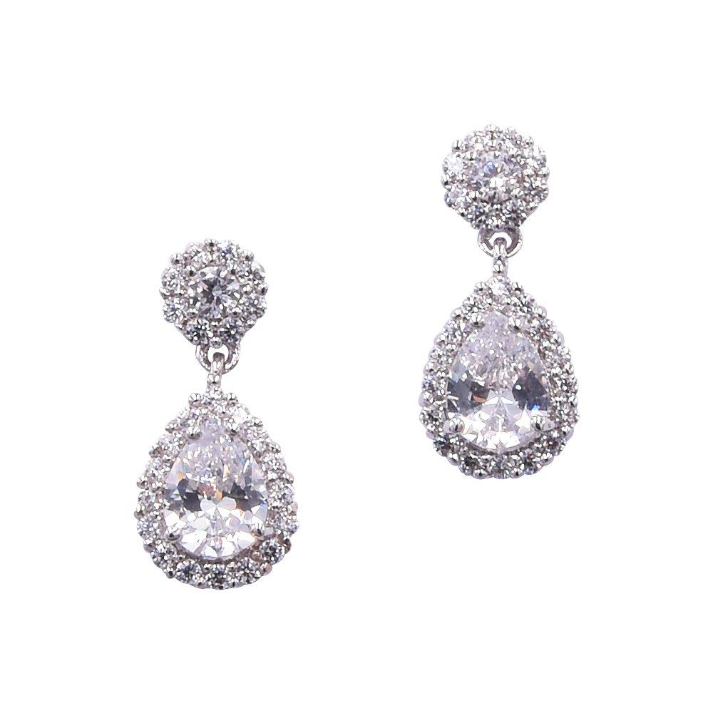 TULIP LY Cubic Zirconia Teardrop Wedding Earrings for Brides Dangle Earrings Platinum Plated Bridal