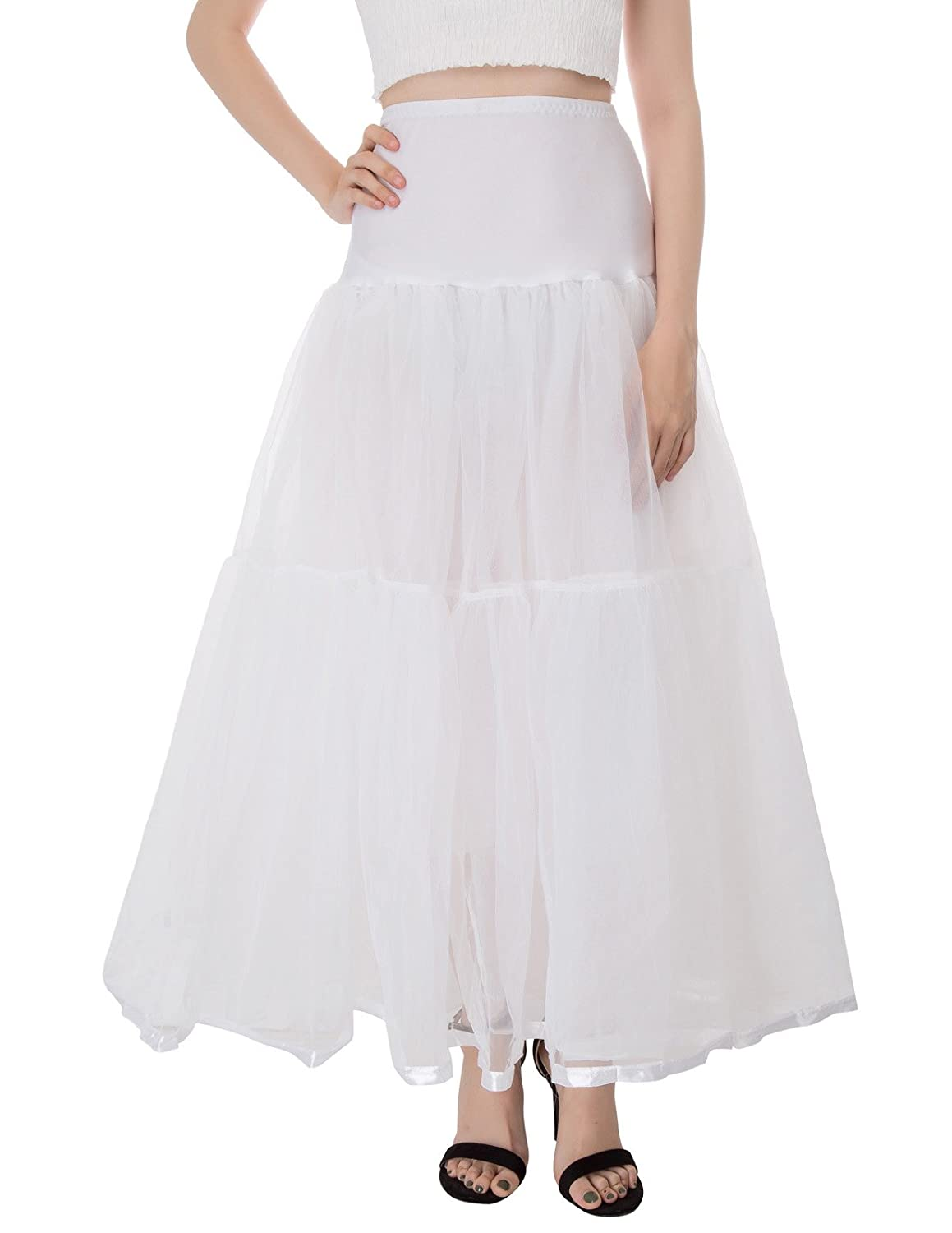 Crinoline Skirt | Crinoline Slips | Crinoline Petticoat Ankle Length Petticoats Bridal Underskirt Hoopless GRACE KARIN Womens  $19.99 AT vintagedancer.com