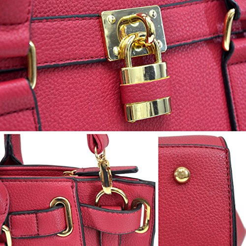 Dasein Women's Belted Padlock Satchel Handbag Tote Structured Shoulder Bag w/ Coin Purse Shoulder Strap (Pink 6487)