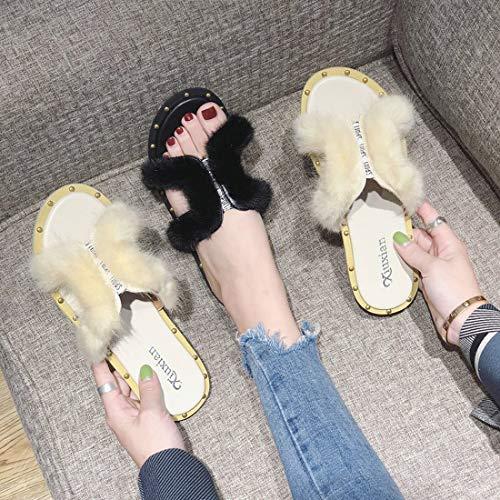 Casa Moda Piatto Donna Carino Tacco Dandanjie Black Pantofole Autunno Outdoor Tacchi Scarpe Peluche qfwCKza4z