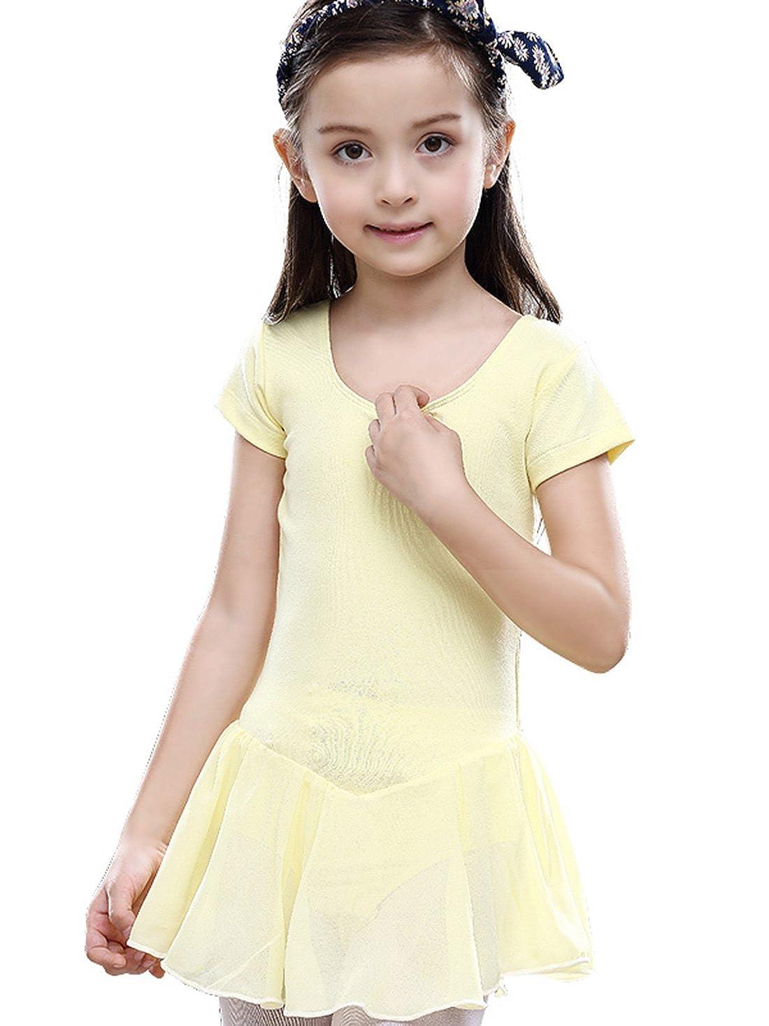 FEOYA Girls Short Sleeve Skirted Leotard for Dance