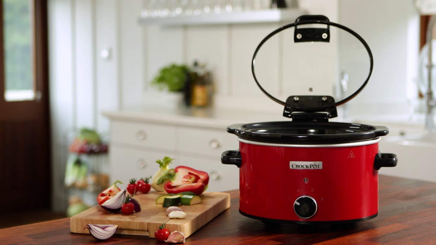 color rojo 3,5 L, gres, 220//240 V, 50 Hz Tapa para bisagra Crock Pot CSC037