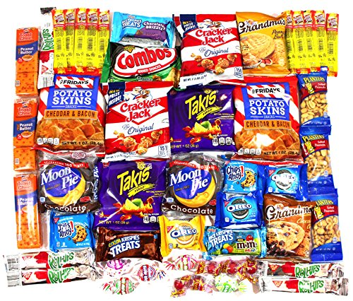 - Cookies Chips & Candies Variety Pack Bundle Assortment Includes: Takis, Moon Pies, Potato Skins, Cracker Jacks and More! Box of 50 Items