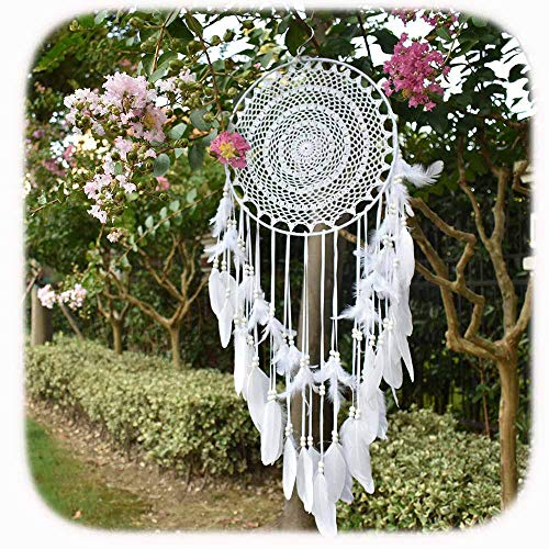Aglife Large White Boho Dream Catcher with White Feather Hanging Wedding Decoration Ornament Gilf, Circle 13.8