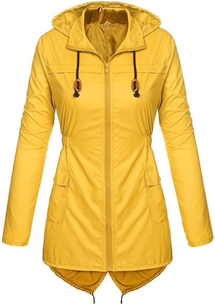 KUDICO Plus Size Womens Rain Jacket Waterproof Hooded Lightweight Active Outdoor Raincoats Zipped Hooded Windbreaker Oversized