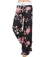 Wide Leg Pants, Kimloog Women Floral Print High Waist Loose Casual Drawstring Trousers