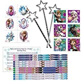 Frozen Party Favors for 12 - 12 Frozen Pencils, 24 Frozen Tattoos, 24 Frozen Stickers, 12 Star Wands and Frozen Party Game Ideas