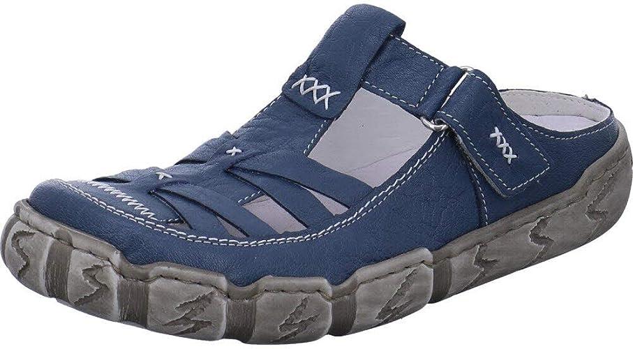 Rieker Massa Pantolette Flach Damen Blau Schuhe im Angebot