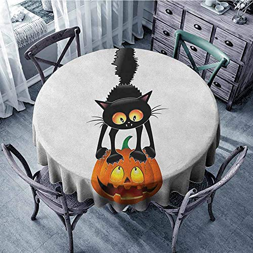 ScottDecor Summer Round Tablecloth Printed Tablecloth Halloween,Black Cat on Pumpkin Drawing Spooky Cartoon Characters Halloween Humor Art, Orange Black Diameter 60