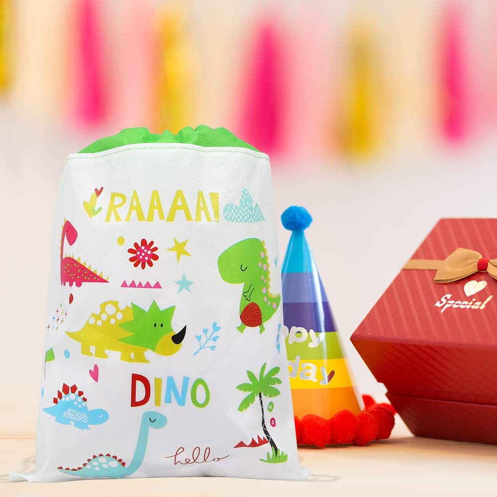 Xplanet 12 Pack Dinosaur Drawstring Party Bag Dinosaur Drawstring Backpacks Gifts Bags Birthday Party Supplies Favor Bag for Kids Children Boys Baby Shower Green