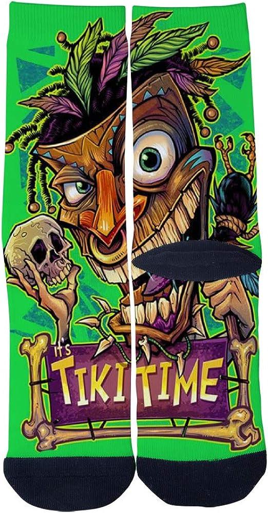 Tiki Man Witchdoctor with Skull and Crow Socks Mens Womens Casual Socks Custom Sports Socks Creative Fashion Crew Socks