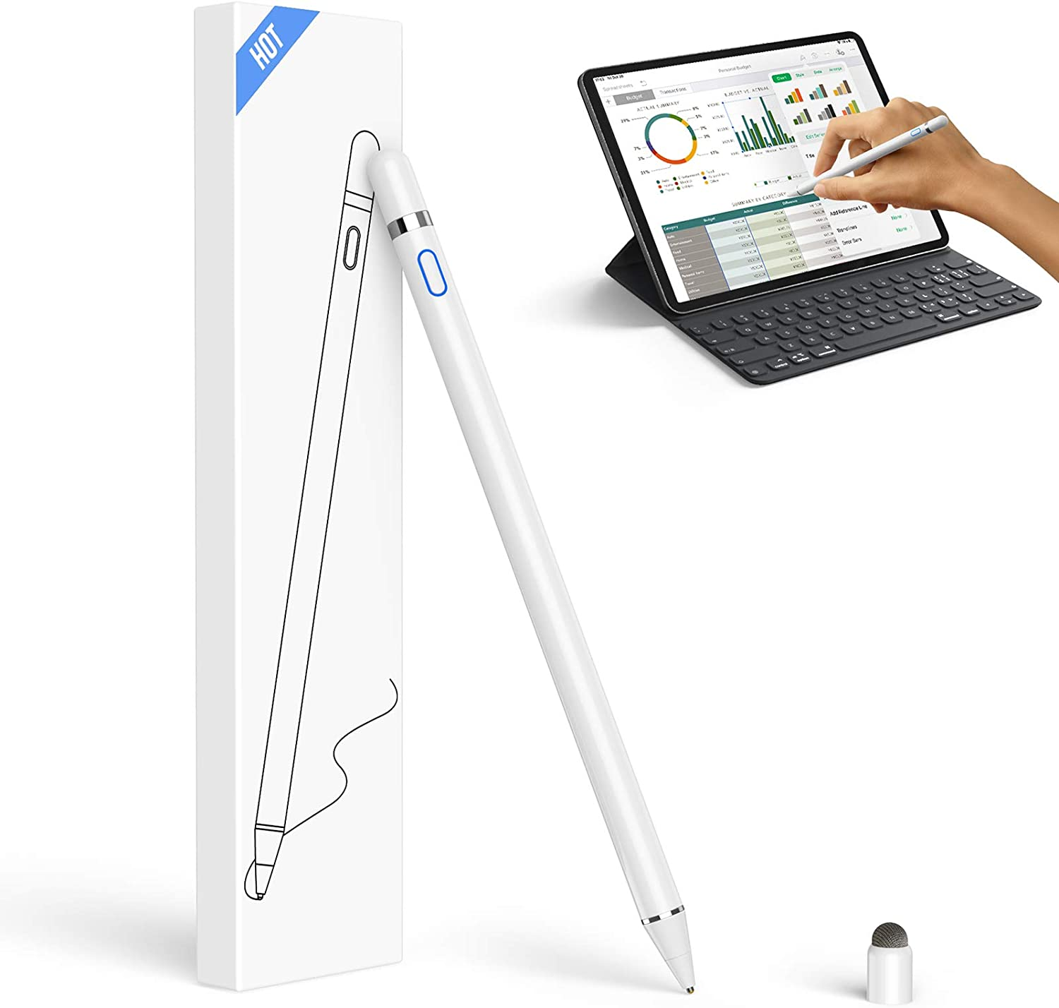 Active Stylus Pen Fine Point Stylus Pen Compatible with iOS/Android Touch Screens, Rechargeable Stylus Pen for Precise Writing & Drawing Stylus for iPad, iPad Pro/Mini, iPhone, Samsung and etc