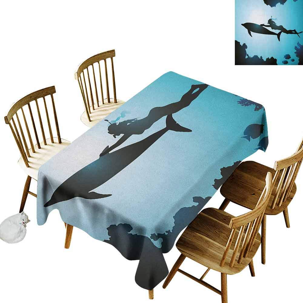 DONEECKL Dolphin Durable Tablecloth Washed Scuba Diver Girl Swimming with Dolphin Silhouette in Sea Fish Reefs Image Pale Blue Black W60 xL84 by DONEECKL