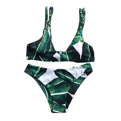 bdf187955709 Irina007 Bikini Mujer Conjunto Hojas Atractiva Para Traje De Baño De Cuerda  Push-Up De Baño (Verde, X-Large)