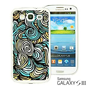 OnlineBestDigital - Flower Pattern Hardback Case for Samsung Galaxy S3 III I9300 - Blue Wave
