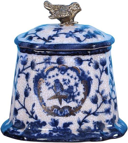 Caja de Almacenamiento de cerámica Caja de joyería en Azul y Blanco Hechos a Mano Caja de Almacenamiento Decoración de hogar neoclásica Adornos: Amazon.es: Hogar
