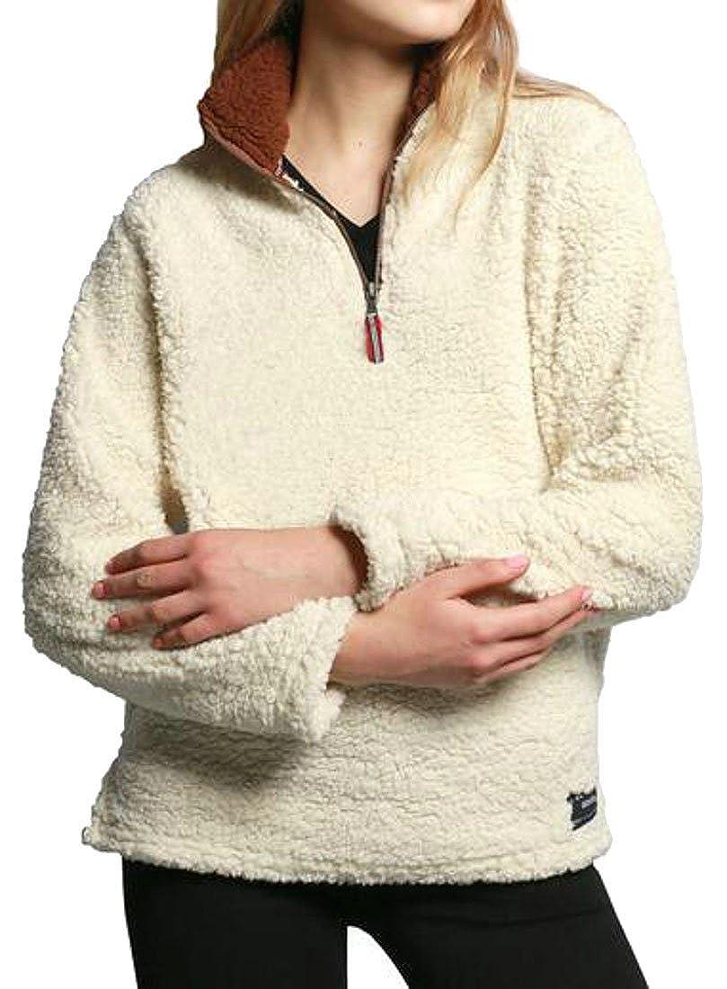 Sweatwater Womens Long Sleeve Fleece 1//4 Zip Casual Pullover Sweatshirts